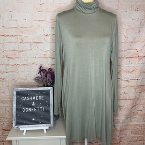 Timely Turtleneck Tunic in Light Sage EUC A3